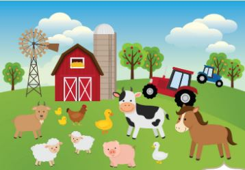 A barnyard with animals