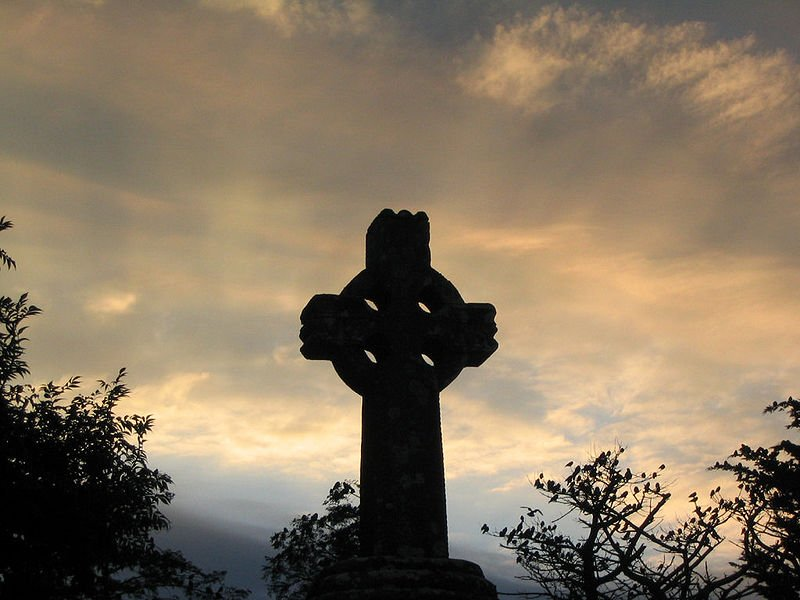 Photo of Celtic cross at sunset